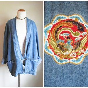 Vintage '90s Embroidered Oversized Denim Jacket